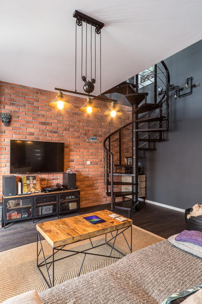 Wykończenie mieszkania w stylu loftowym.